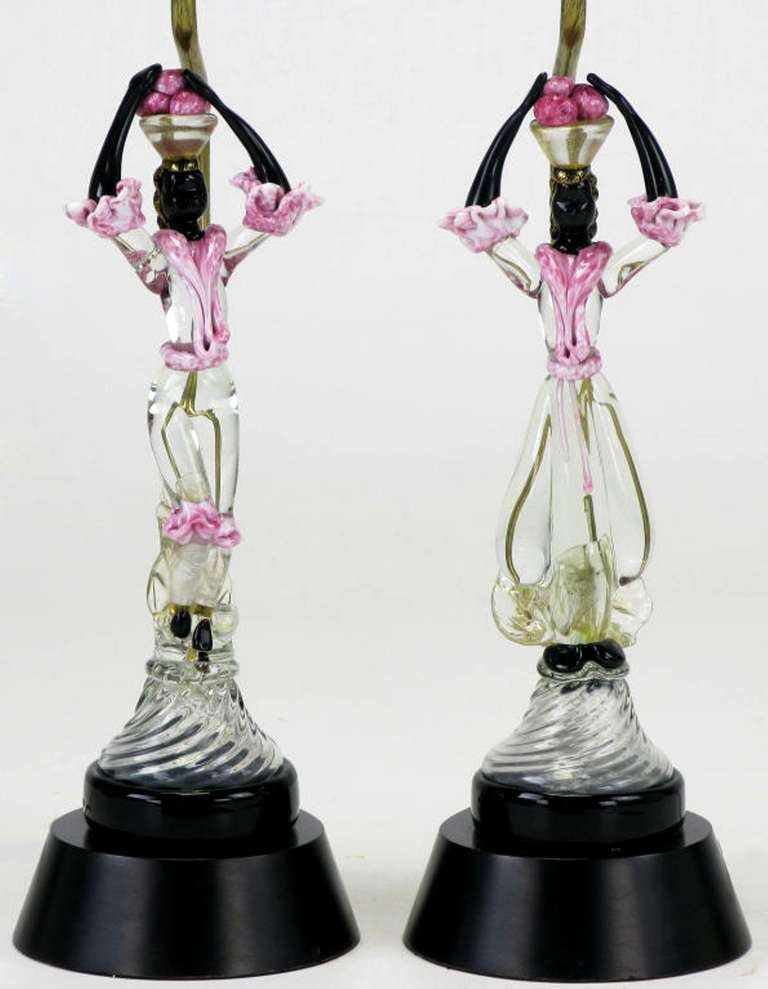 Pair of Italian Murano Glass African Female Figure Table Lamps In Excellent Condition For Sale In Chicago, IL