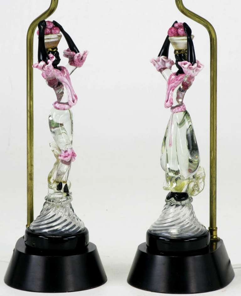 Mid-20th Century Pair of Italian Murano Glass African Female Figure Table Lamps For Sale