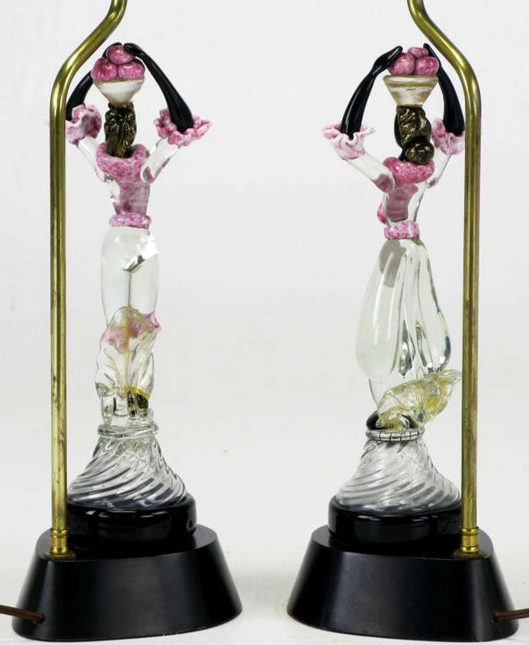 Blown Glass Pair of Italian Murano Glass African Female Figure Table Lamps For Sale