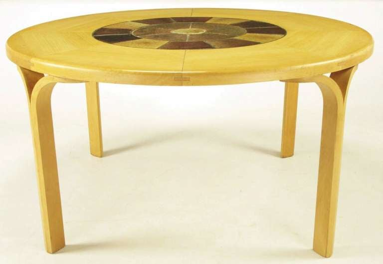 round inset tile and rift cut birch y leg dining table at