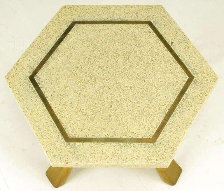 Harvey Probber Hexagonal Mahogany and Terrazzo Marble Side Table 4