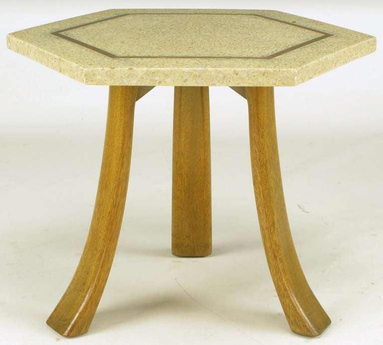 Harvey Probber Hexagonal Mahogany and Terrazzo Marble Side Table 3