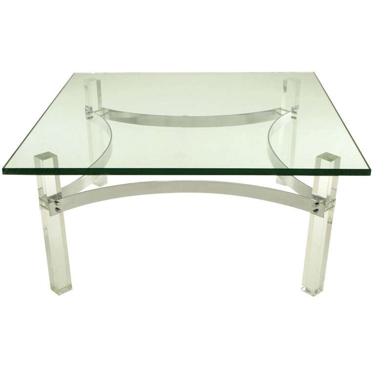 Chrome And Lucite Canted Leg Coffee Table After Charles