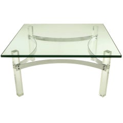 Chrome and Lucite Canted Leg Coffee Table after Charles Hollis Jones