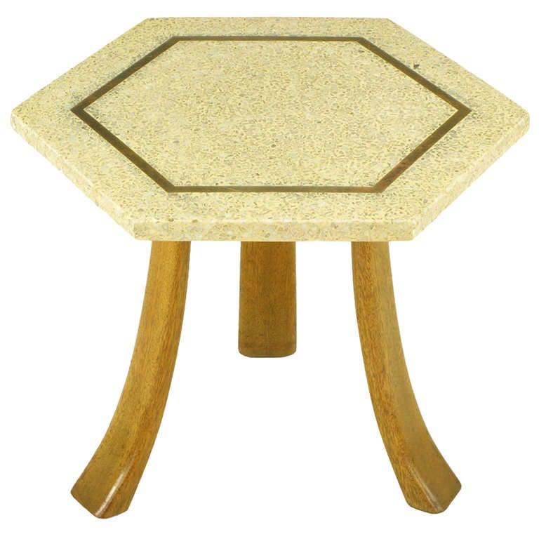 Harvey Probber Hexagonal Mahogany and Terrazzo Marble Side Table