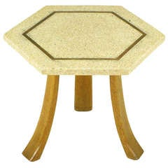 Harvey Probber Hexagonal Mahogany and Terrazzo Marble Side Table