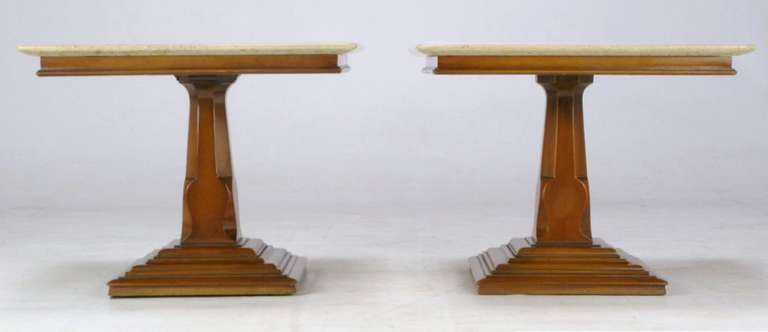 American Pair of Spanish Revival Maple and Portuguese Travertine Side Tables For Sale