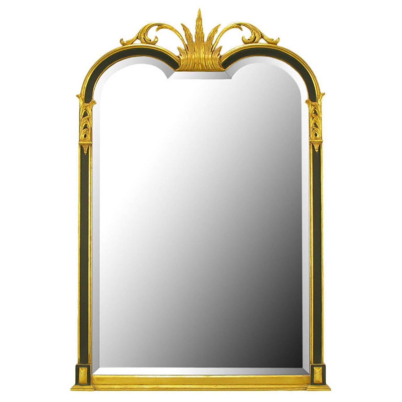 Empire Revival Parcel-Gilt and Black Lacquer Wall Mirror