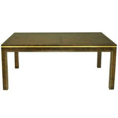 Mastercraft Amboyna Burl and Brass Parsons Leg Dining Table