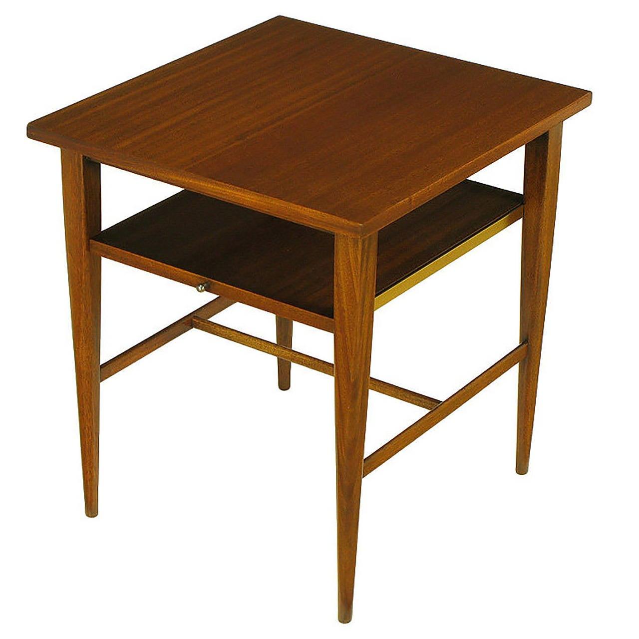 Paul McCobb Ribbon Mahogany End Table with Extensible Shelf at 1stdibs