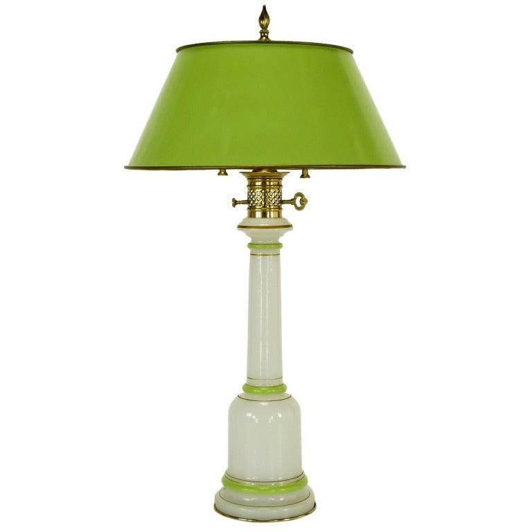 Warren Kessler Empire-Style Table Lamp of Jade Green and White Milk Glass