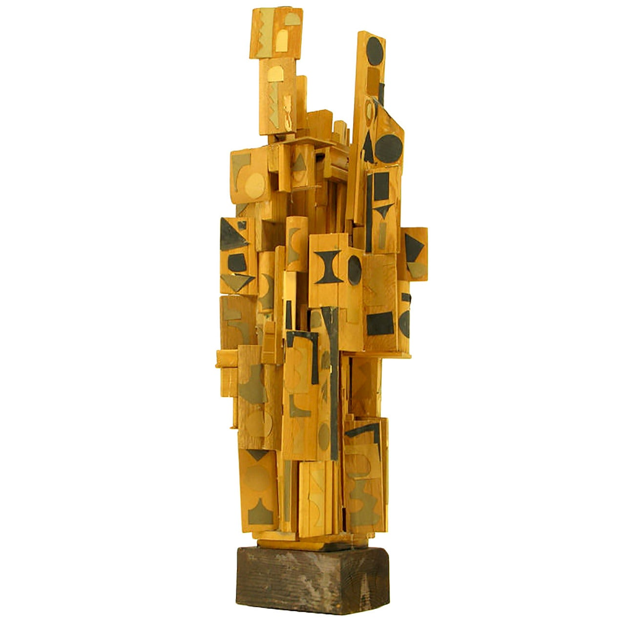 Outsider Art Wood Sculpture with Geometric Appliques