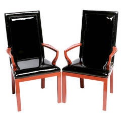 Pair of Baker Cinnabar and Black Patent Leather Armchairs
