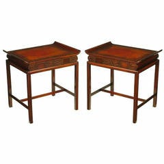 Pair of Curved Mahogany and Leather Top End Tables with Greek Key Reliefs