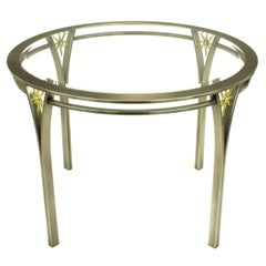 DIA Round Brushed Steel and Brass Sunburst Dining Table