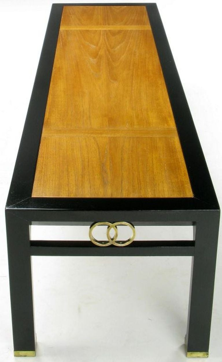 Michael Taylor Ebonized and Bleached Walnut Coffee Table for Baker In Good Condition For Sale In Chicago, IL