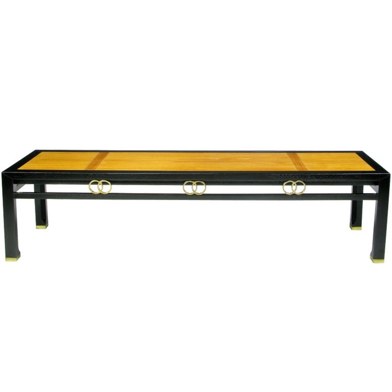 Michael Taylor Ebonized and Bleached Walnut Coffee Table for Baker For Sale 2