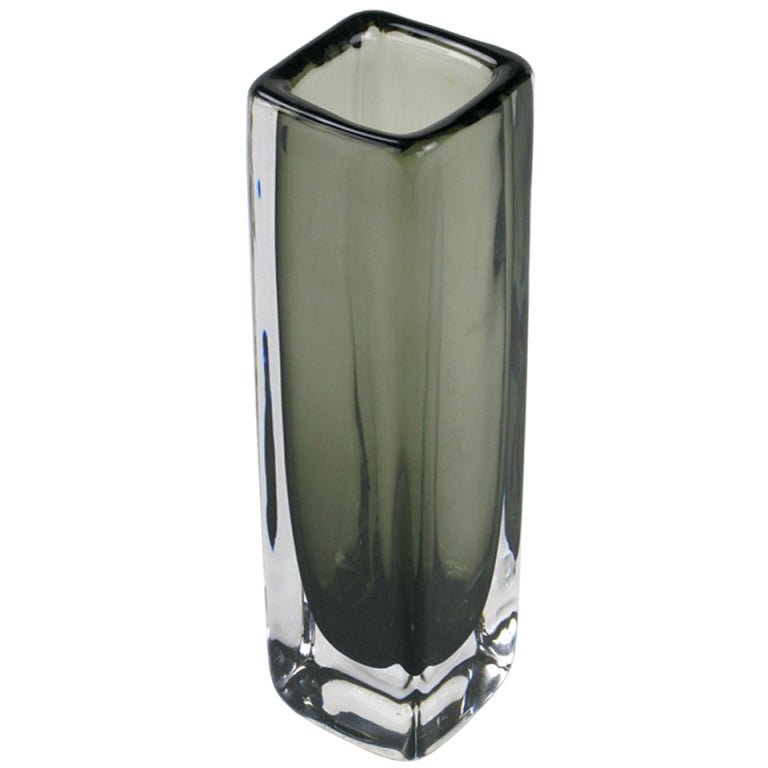 Smoked Sommerso Glass Vase