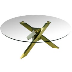 1970s Geometric Brass Tripodal Coffee Table