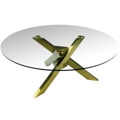 1970s Geometric Brass Tripodal Coffee Table