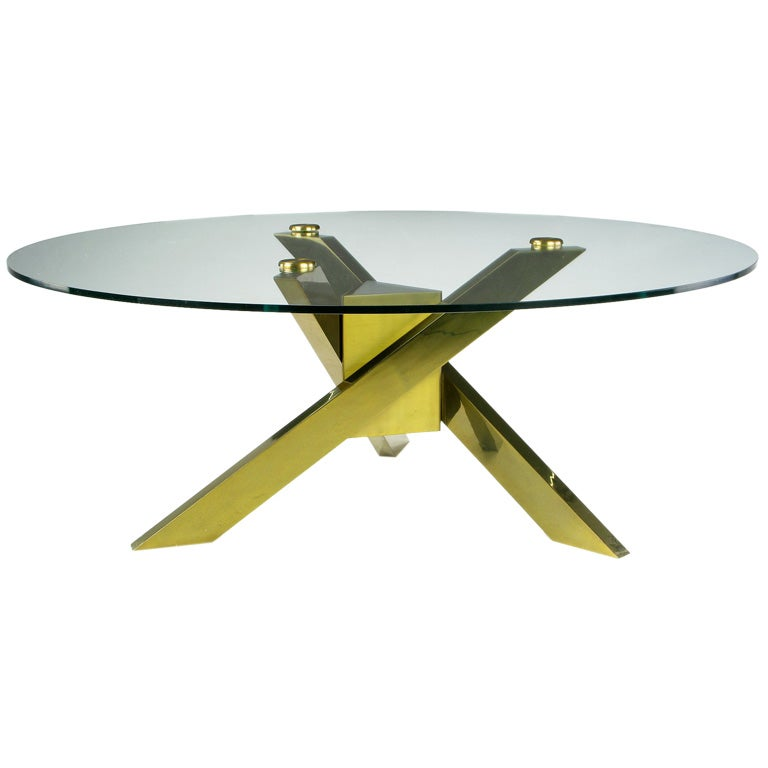 Post Modern Coffee Tables: 1970s Geometric Brass Tripodal Coffee Table For Sale At