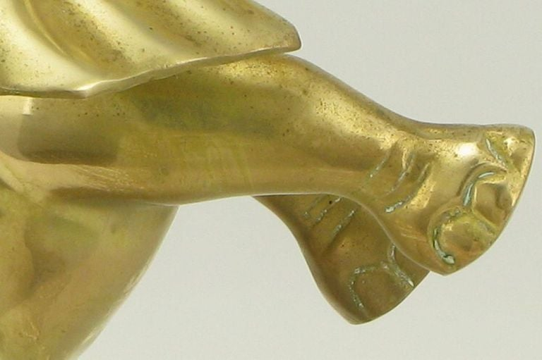 Solid Brass Standing Elephant Sculpture On Pedestal For Sale 2