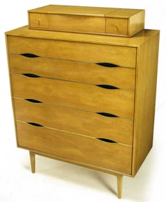 Vignola Furniture Bleached Walnut and Brass Five-Drawer Tall Chest