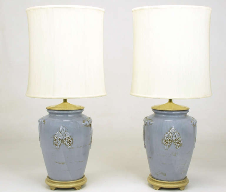 Pair of Periwinkle Blue Antique Glazed Urn-Form Table Lamps 2