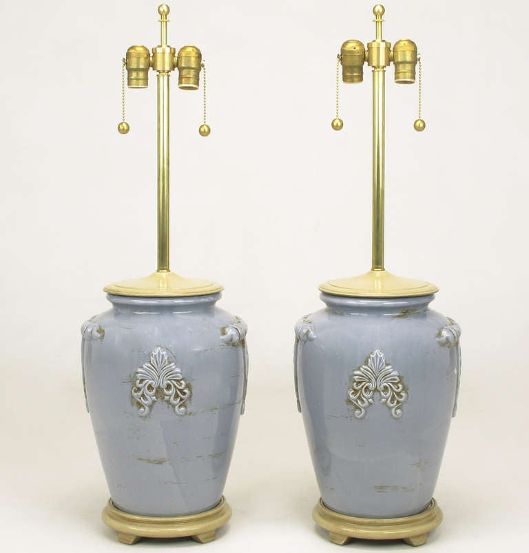 Pair of Periwinkle Blue Antique Glazed Urn-Form Table Lamps 3
