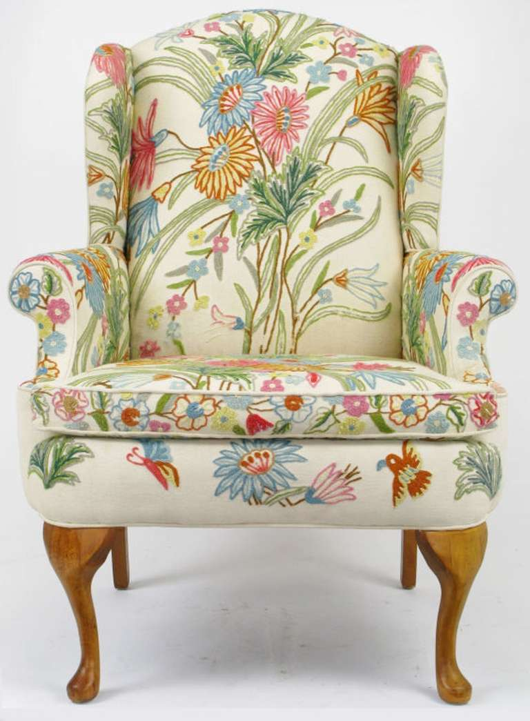 Wool Crewel Upholstered Wing Chair In Colorful Floral At