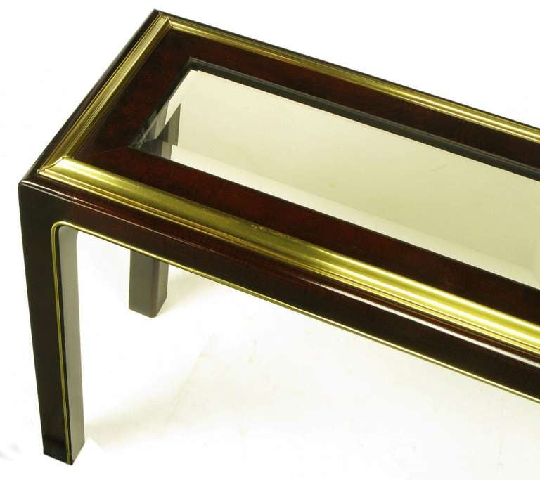 Late 20th Century Widdicomb Burled Walnut and Brass Smoked Glass Top Console For Sale