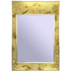 LaBarge Chinoiserie Handpainted & Signed Mirror