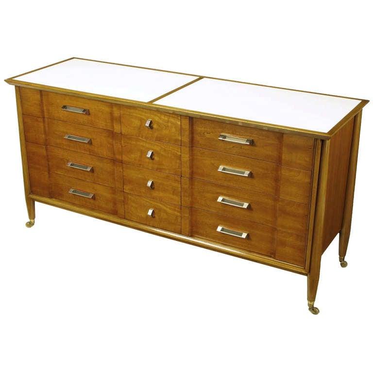 landstrom furniture walnut and vitrolite long dresser at