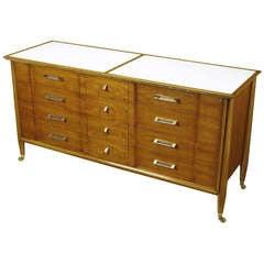 Landstrom Furniture Walnut and Vitrolite Long Dresser