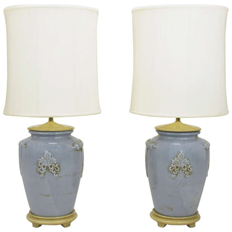 Pair of Periwinkle Blue Antique Glazed Urn-Form Table Lamps 1