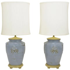 Pair of Periwinkle Blue Antique Glazed Urn-Form Table Lamps