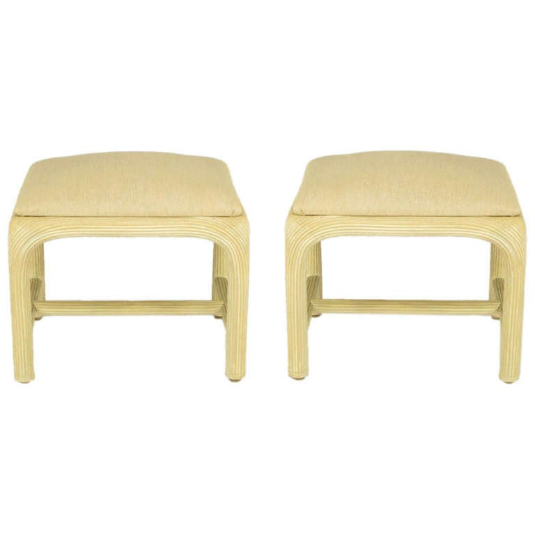 Pair of Bleached and Reeded Rattan Benches in Natural Linen