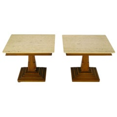 Pair of Spanish Revival Maple and Portuguese Travertine Side Tables