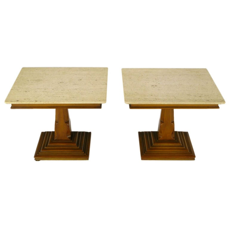 Pair of Spanish Revival Maple and Portuguese Travertine Side Tables For Sale