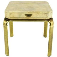 John Widdicomb Cream Goatskin Side Table On Canted Brass Legs