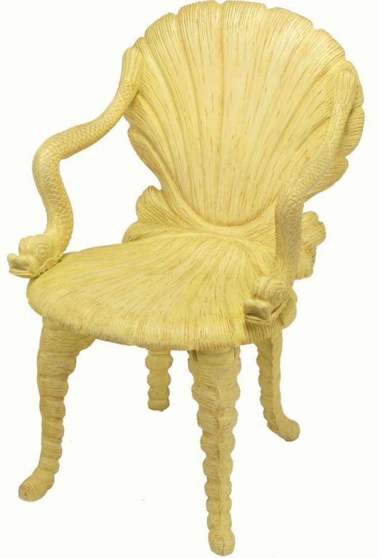 Maitland Smith Carved Wood Grotto Chair With Dolphin Arms 3
