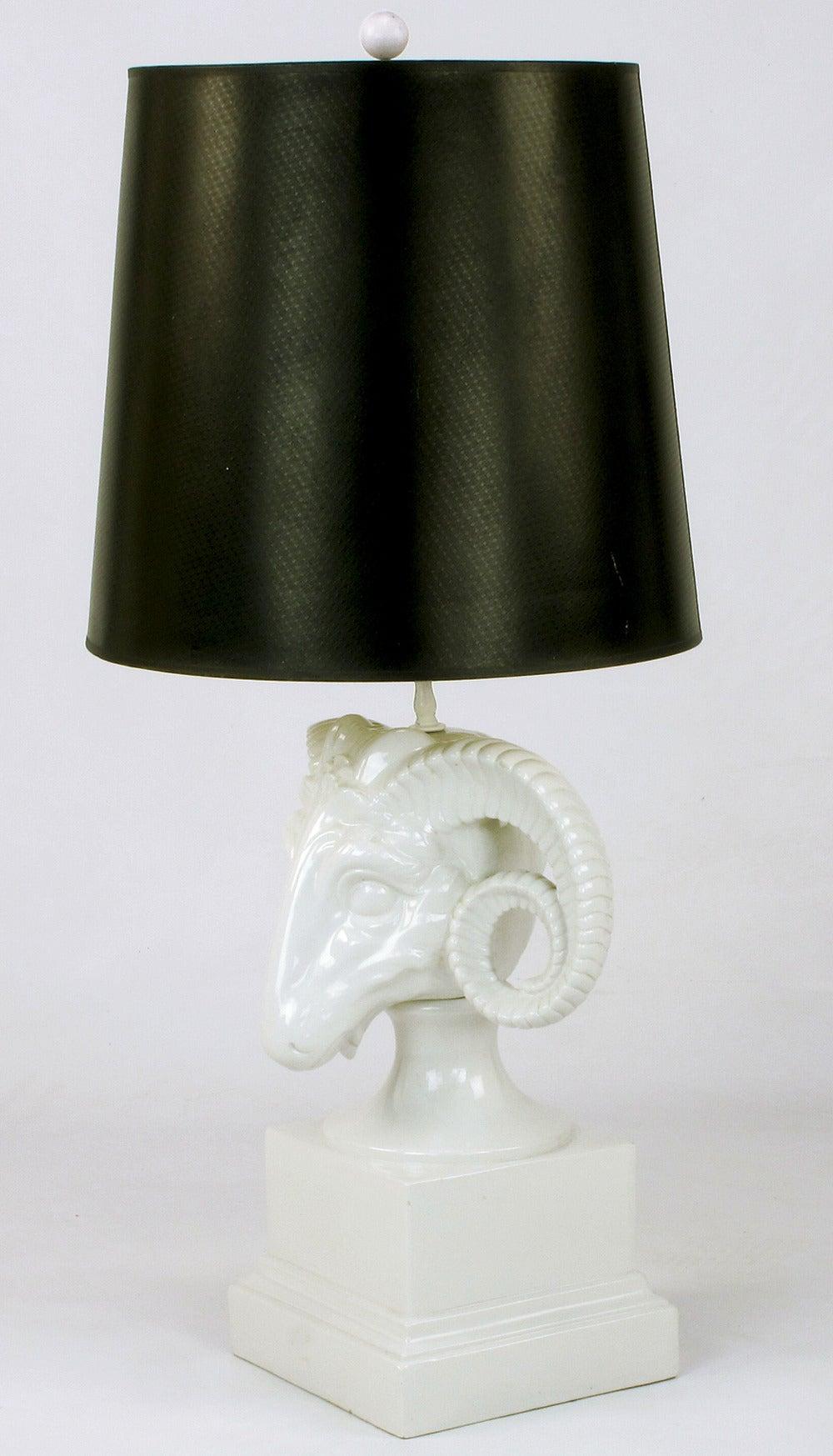 chapman white ceramic ram 39 s head table lamp at 1stdibs. Black Bedroom Furniture Sets. Home Design Ideas
