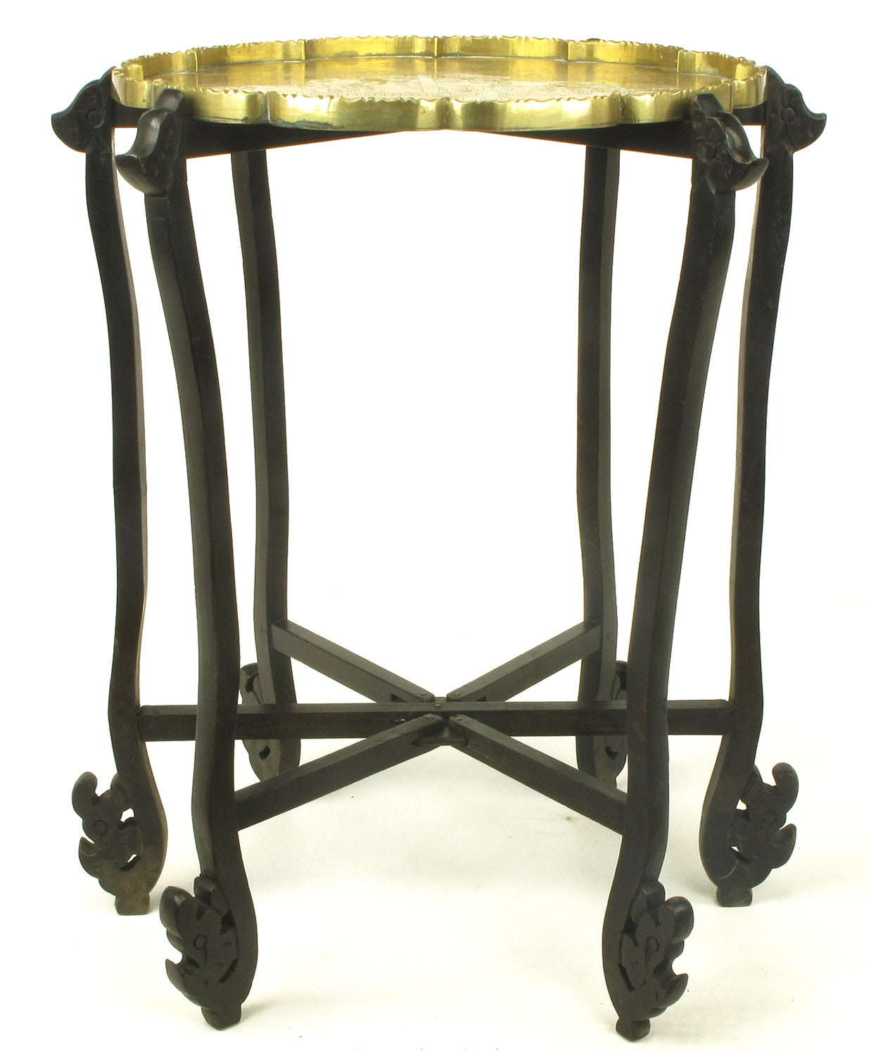 carved ebony folding table with etched brass tray top for sale at 1stdibs. Black Bedroom Furniture Sets. Home Design Ideas