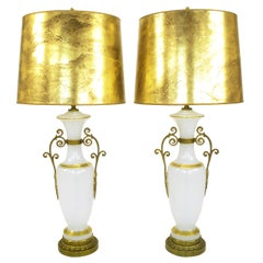 Pair of Chapman Neoclassical White Milk Glass Table Lamps with Brass Appliques