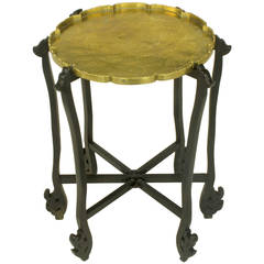Carved Ebony Folding Table with Etched Brass Tray Top