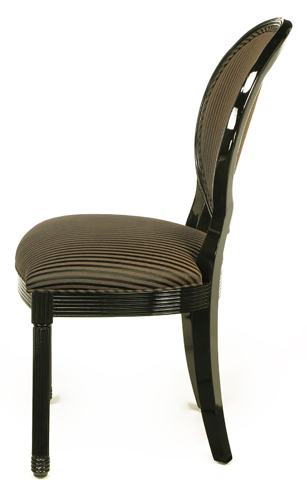 Eight Rare Jay Spectre Black Lacquer Dining Chairs 4