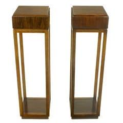 Pair of Bert England East Indian Laurel Pedestals by Baker