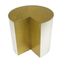 Unusual Chrome Cylinder Table with Bronze Top and Open Wedge