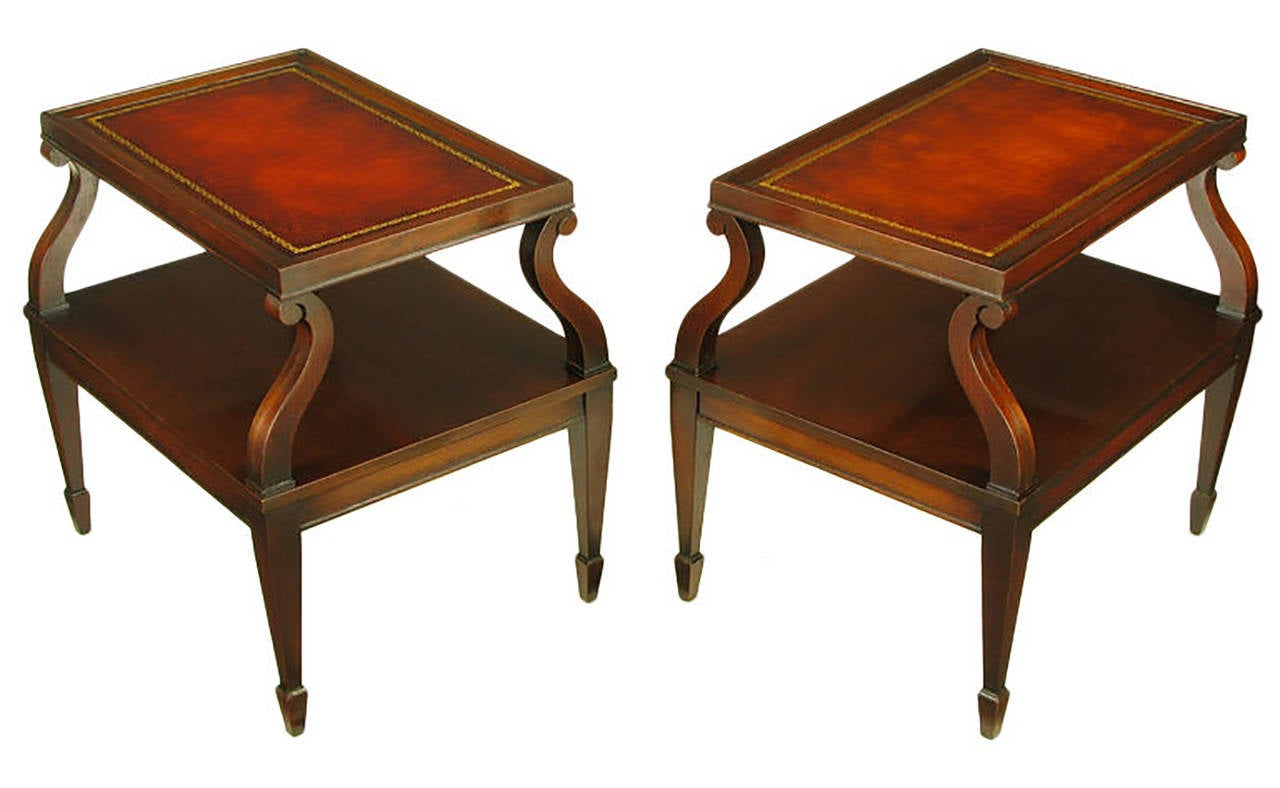 Nice Pair Of Weiman Leather And Scrolled Mahogany End Tables 2