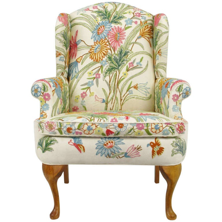 Wool Crewel Upholstered Wing Chair in Colorful Floral at ...